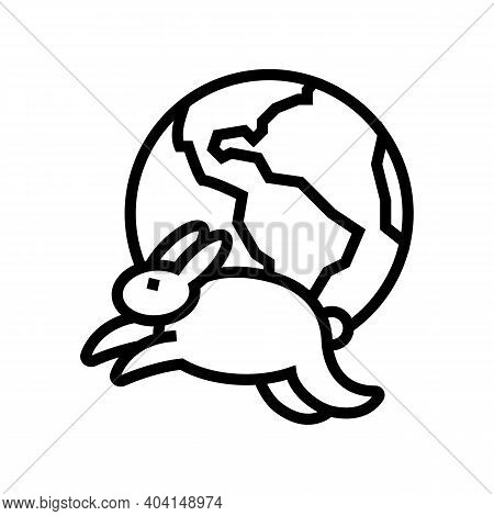 Worldwide Safe Rabbits Line Icon Vector. Worldwide Safe Rabbits Sign. Isolated Contour Symbol Black