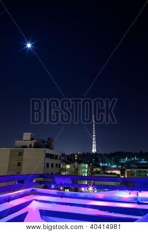 Radiotower And Moon