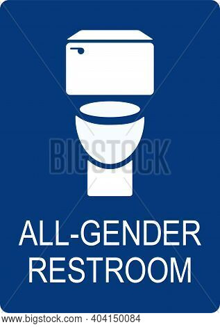 All Gender Bathroom Sign. White On Blue Background. Toilet Signs And Symbols. It Can Be Used For Bui
