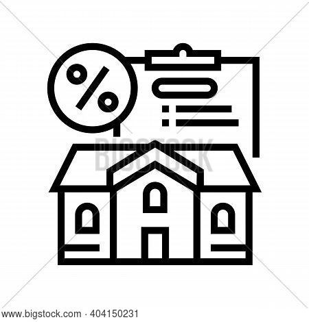 Mortgage For Buy House Line Icon Vector. Mortgage For Buy House Sign. Isolated Contour Symbol Black