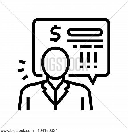 Bank Employee Demand Money For Pay Loan Line Icon Vector. Bank Employee Demand Money For Pay Loan Si