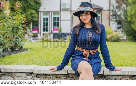 Pretty Beautiful Fashionable Woman. Model Latina Girl, Wearing Stylish Vintage Clothes . Female Fash