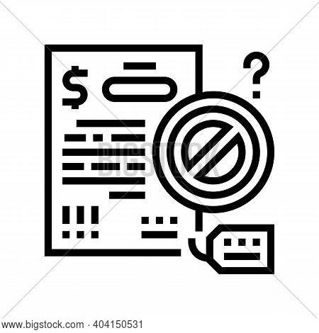 Refuse Loan Line Icon Vector. Refuse Loan Sign. Isolated Contour Symbol Black Illustration