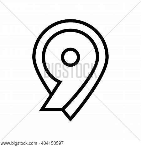 Ninth Number Line Icon Vector. Ninth Number Sign. Isolated Contour Symbol Black Illustration