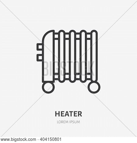 Oil Heater Flat Line Icon. Vector Outline Illustration Of Domestic Heater. Black Color Thin Linear S