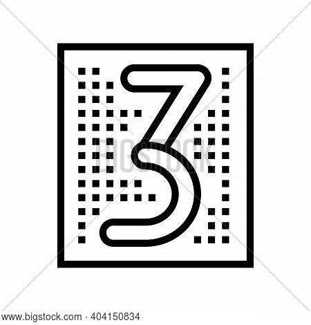 Third Number Line Icon Vector. Third Number Sign. Isolated Contour Symbol Black Illustration