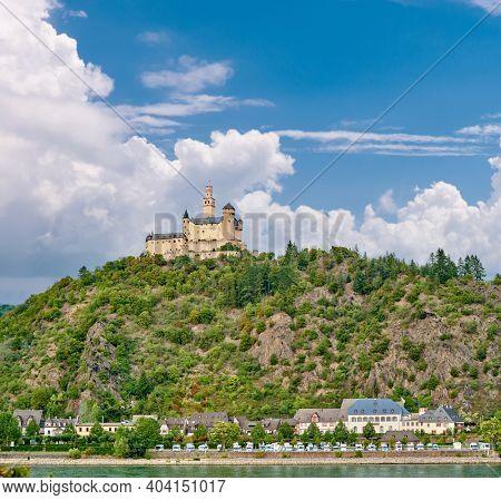 Marksburg castle on Rhine river in Rhineland-Palatinate, Germany. Built in 1117