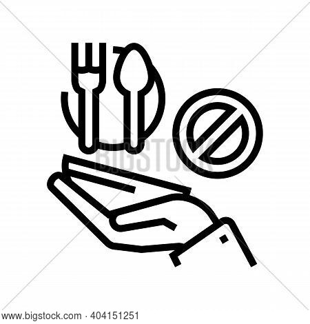 Hungry Poverty Problem Line Icon Vector. Hungry Poverty Problem Sign. Isolated Contour Symbol Black