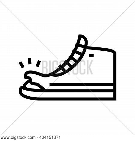 Torn Shoe Line Icon Vector. Torn Shoe Sign. Isolated Contour Symbol Black Illustration
