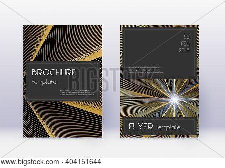 Black Cover Design Template Set. Gold Abstract Lines On Black Background. Alive Cover Design. Splend
