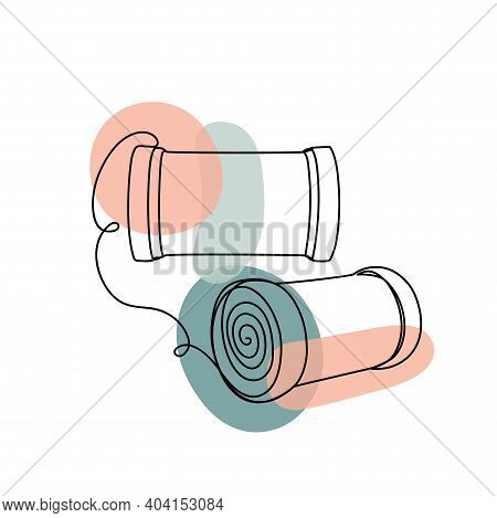 Abstract Image With A Black Line Of Hair Curlers.