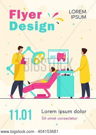 Dentist Examining Boy In Dental Chair. Doctor, Tooth, Visit Flat Vector Illustration. Stomatology An