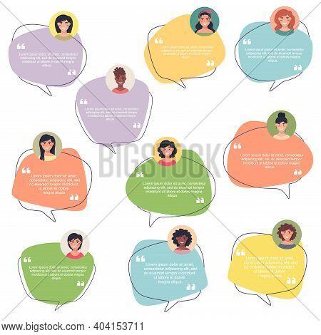 Testimonial Speech Bubble Concept, Collection Of Female Avatars, Customer Testimonials Of Informatio