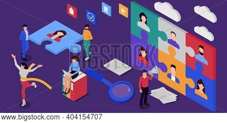 A Modern Isometric Vector Illustration With The Concept Of Recruiting. Business Concept. Business Pe