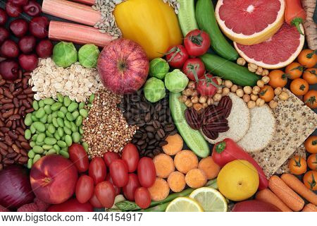 Clean eating concept with health food high in antioxidants that neutralise free radicals. Also high in dietary fibre, vitamins, anthocyanins, smart carbs , protein and omega 3 Immune boosting.