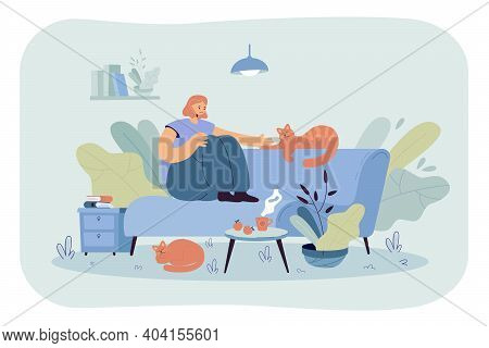 Positive Lady Sitting On Cozy Sofa With Cats Flat Vector Illustration. Cartoon Woman Relaxing At Hom