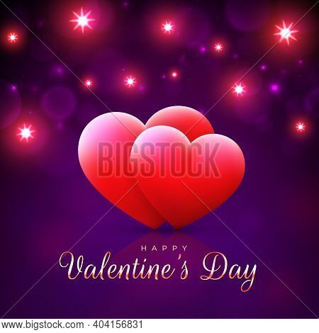 Valentine's Day Card, Red Hearts On Magenta, Purple Background With Bright Lights. Happy Valentine D