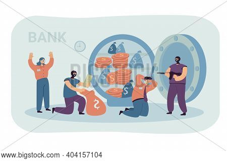 Banking Thieves In Masks Threatening Bank Workers Flat Vector Illustration. Cartoon Robbers Taking M