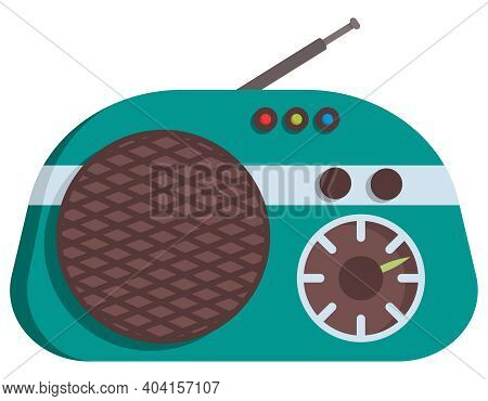 Small Retro Radio. Outdated Equipment In Cartoon Style.