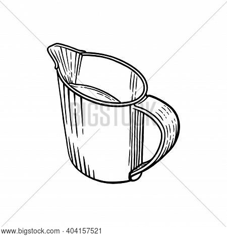 Coffee Creamer Sketch Isolated In White Background. Engraved Illustration Of Creamer With Milk. Blac