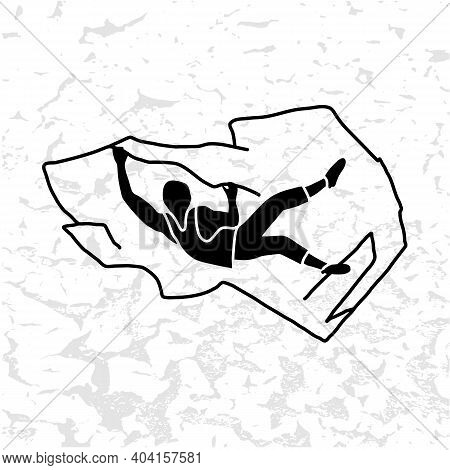Silhouette Of A Climber. Rock Climbing Badge. Men Doing Extreme Sport, Adrenaline Activity Of Strong