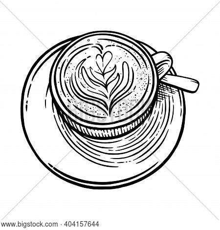 Coffee Cup With Cappuccino. Black And White Engraved Sketch Of Coffee Mug. Vector Illustration