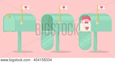 A Set Of Mailboxes For Sending Valentines. Mailboxes For Sending Love Letters. Vector Concept For Va