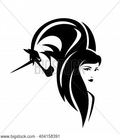 Beautiful Woman With Long Hair And Mythical Unicorn Horse Head - Fairy Tale Creatures Black And Whit