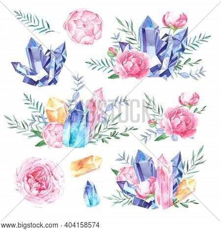 Hand Drawn Watercolor Crystals And Peonies Collection. Flowers And Stones Isolated On White Backgrou