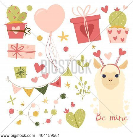 Valentines Day Flat Illustration. Collection Design Elements With Llama, Cactus, Lovely Flowers, Hea