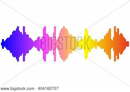 Pulse Music Player. Audio Colorful Wave Logo. Rainbow Equalizer Element On Gray Background. Jpeg Ill