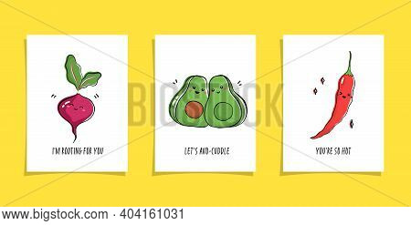 Set Of Cards With Veggies And Funny Phrases. Puns With Cute Beetroot, Avocado And Chili Pepper. Kawa