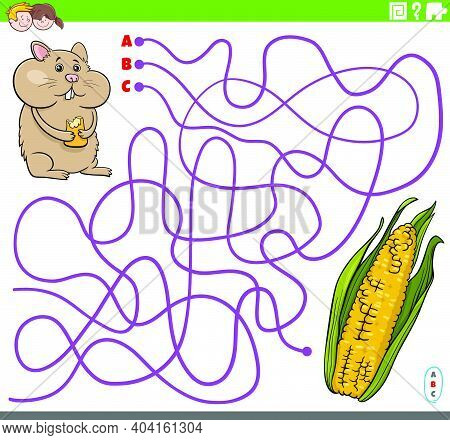 Cartoon Illustration Of Lines Maze Puzzle Game With Hamster Character And Corn Cob
