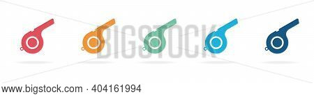 Set Of Whistle Icon. Flat Color Collection Of Whistle Vector Icons. Referee Whistle Icon.