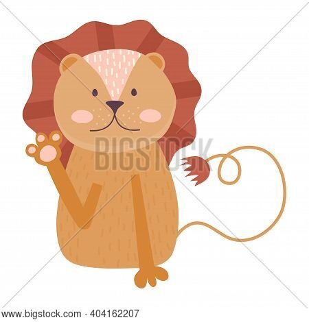 Scandinavian Huge Cute Animal, Lion With Mane Greeting Isolated On White Background. Vector Illustra