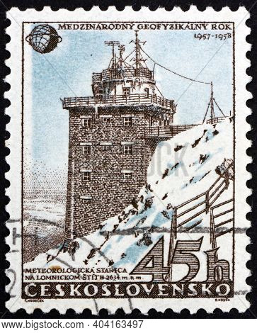 Czechoslovakia - Circa 1957: A Stamp Printed In Czechoslovakia Shows Meteorological Station In High