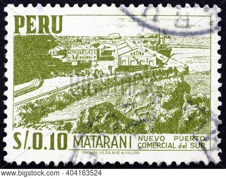 Peru - Circa 1953: A Stamp Printed In Peru Shows Harbor Of Matarani, Circa 1953