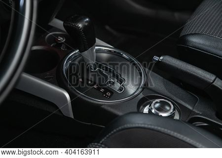 Novosibirsk/ Russia - January 14 2021: Peugeot 4008, Gear Shift. Automatic Transmission Gear Of Car