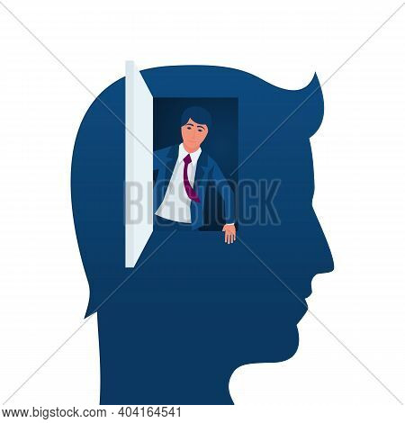Freedom Of Mind. Get Out Of The Closed Mind, Business Metaphor. Open The Door To A World Of Possibil