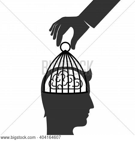 Person Removes A Cell From The Brain. Remove Restrictions. Freedom Of Mind. Get Out Of The Closed Mi