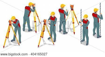 Isometric Surveying Measuring Equipment Level Theodolite On Tripod Isolated On White Background. Pro