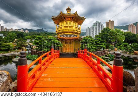 Pavilion of Absolute Perfection in Nan Lian Garden, Hong Kong, China. (Plaque reads in Chinese: Pavilion of Absolute Perfection)