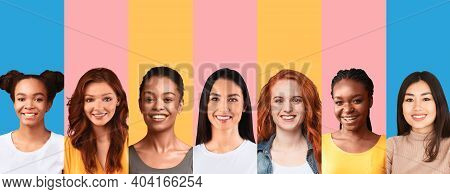 Multicultural Females Beauty. Collage With Portraits Of Happy Diverse Young Women Smiling To Camera