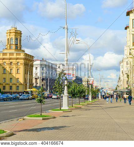 Minsk, Belarus - July 17, 2019:people Walking By Central Street - Independence Avenue. Independence