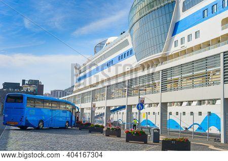 Funchal, Madeira - Feb 04, 2020: Oceanic Luxury Cruise Liner At Madeira Port. Funchal, Madeira, Port