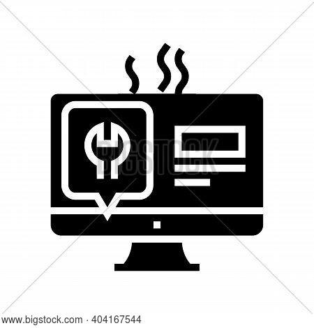 Computer Display Repair Glyph Icon Vector. Computer Display Repair Sign. Isolated Contour Symbol Bla