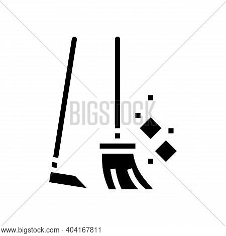 Broom And Scoop Glyph Icon Vector. Broom And Scoop Sign. Isolated Contour Symbol Black Illustration