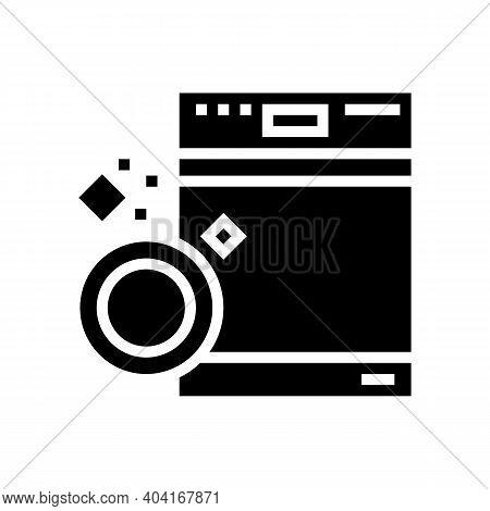 Dishwasher Machine Glyph Icon Vector. Dishwasher Machine Sign. Isolated Contour Symbol Black Illustr