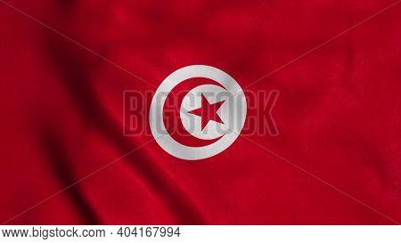 Tunisia Flag Waving In The Wind. National Flag Of Tunisia. 3d Illustration.
