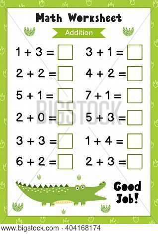 Math Worksheet For Kids. Addition. Matematic Activity Page With A Cute Alligator